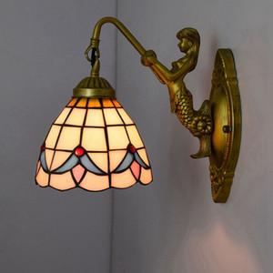 Витражи Настенные светильники с Resin Русалка тела светильника Творческий Magnolia шаблон абажур стены Бра