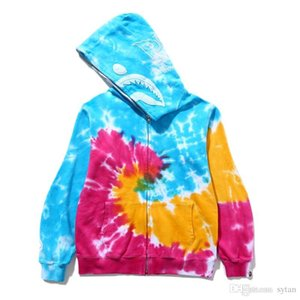 2019 New Wholesale Autumn Winter Lover Tie Dyed Terry Sport Hip Hop Sweater Men Women Casual Hooded Hoodies Jacket