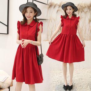 2019 Pregnant Women New Style Peter Pan Collar Red Dress Literature And Art Loose-Fit Shirt Dress France fu gu qun Dress Summer