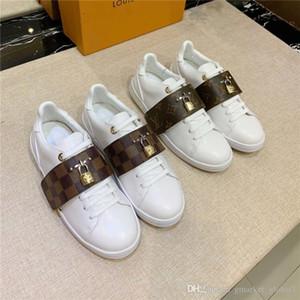 Heiße Frauen Turnschuhe Frontrow Sneaker Luxus-Designer-Schuhe Weiß Kalbsleder flache Schuhe der Frauen Mode-Party mit Kasten