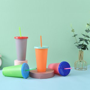 24oz Color Changing Cup Magic Plastic Drinking Tumblers with Lid and Straw Cold Drinks Cup WB1925