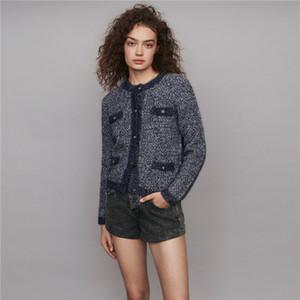Damen-Jacken-Mantel Fragrance helle Seide gestrickten Langarm Rundhals Solid Color-Jacken-Mantel Luxus Elegante Top