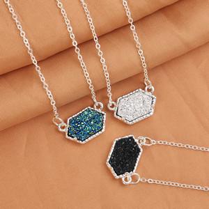 Druzy Drusy Halskette Mode Oval Harz Halskette Gold Silber Überzogene Marke Schmuck für Frauen Mädchen 14 Farben