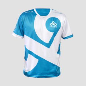 Dota2 LOL CSGO-Spielteam C9 CLOUD9 Jersey-T-Shirt CSGO GAMING-T-Shirt schnell trocken 100% Polyeste T-SHIRT V-AUSSCHNITT