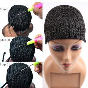 Buena gorra Cornrows para coser más fácil en trenzas peluca Capschet Color negro Trenzas de ganchillo peluca Gorra Tejido Cap para hacer peluca