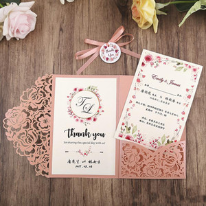 Blush Pink Laser Cut Inviti di nozze carta Pearl Shimmy Pocket Wedding Invita con carta di RSVP e del nastro e la busta