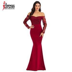 IDress Sexy de Slash Neck Alças Designer Runway vestido formal Prom vestido longo mulheres ata Evening Partido bordado vestido longo