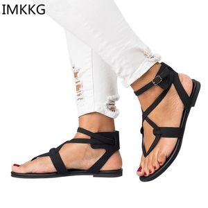 IMKKG 2018 Scarpe Donna Estate Scarpe Casual Femminile Tacco piatto Cinturino Alla Caviglia Sandali Delle Donne Più Il Formato 42 43 m140
