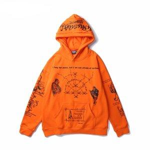 20ss الشارع الشهير مقنع هوديس الرجال البرتقال الأسود الهيب هوب الجمجمة هوديي البلوز غنيمة المتضخم الكتابة على الجدران هوديي الملابس
