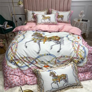 2020 Summer New Bedding Cover Digital Printing H Series Long-staple Cotton Bed 4-piece Set Fashion Horse Print Quilt Cover