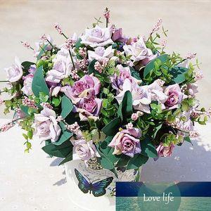 Цветы 10 глав Букет роз искусственного шелка Цветы Поддельный листьев Дом и Свадеб украшения невесты Букет аксессуары