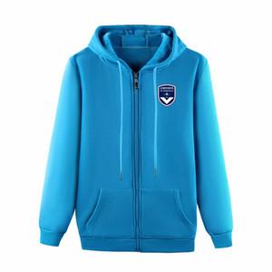 Bordeaux 2019-Zip completa Jacket Viagem 2019 2020 Bordeaux Cotton Treinamento de futebol jaqueta de futebol treino jaquetas Bordeaux dos homens encapuzados