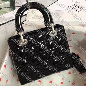 FREE SHIPPING 5A QUALITY WOMEN CANNAGE PATENT CALFSKIN MEDIUM CHAIN LADY BAG SILVER GOLD METAL SHOULDER CROSS BODY FLAP BAG WITH DUST BAG