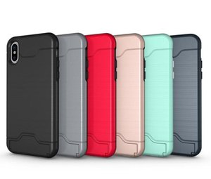 Para iPhone X 8 plus Estuche Cepillo para tarjeta Ranura para tarjeta Funda trasera Funda con soporte para Galaxy S8 Armor Case iPhone 6 6plus 7 Plus S8 plus 2019