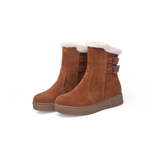 Fashionable casual snow boots women's new high heel toe buckle boots high heels warm winter shoes