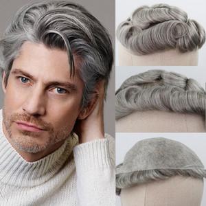 Brown misto Grigio umani Toupee dei capelli per gli uomini # 5 80% sostituzione grigi Remy Capelli ricci sistema della pelle Toupee degli uomini