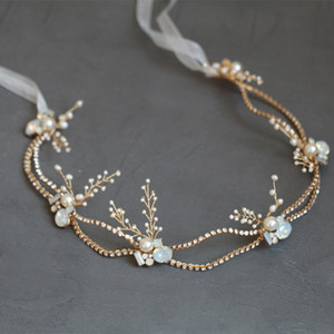 wholesale Bridal Headband Hair Vine Gold Rhinestone Women Headpiece Pearls Wedding Hair Jewelry Accessories