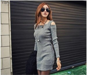 Autumn Winter Sweater Dress Women Crew Neck Off Shoulder Knitted Sweater Dress Lady Solid Slim Pullovers Knitting Jumper 20