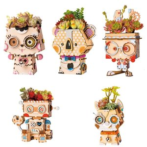 Tiesto Tiesto Rolife historieta DIY decoración de madera suculentas Caja Jardín de Bonsai Pot para el jardín de flores del Home Office Decor T191016