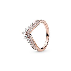 Or rose 18 carats plaqué anneaux de mariage boîte originale pour Pandora Argent 925 Princesse Wishbone Bague Femmes Coffret Cadeau CZ Bague en diamant Ensembles