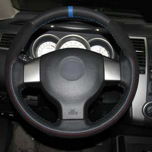 Top Leather Steering Wheel Hand-stitch on Wrap Cover For Nissan Tiida Livina Sylphy