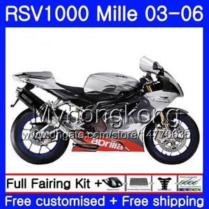 Carrosserie Pour Aprilia RSV 1000R 1000 RV60 Mille 2003 2004 2005 2006 top Rouge argenté316HM.40 RSV1000RR RSV1000R RSV1000 R RR 03 04 05 06 Carénages