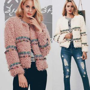 Kadın Kış Boho Sahte Kuzular Yün Fringe Ceket Moda Coats Artı boyutu Kısa Bulanık Ceketler Kadın Vintage Kabanlar Isınma