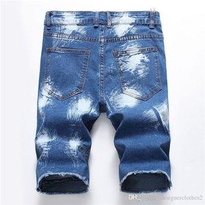 Hot Designer Mens Jean Shorts drappeggiato Hole Magro fresco mens Jean Shorts Moda lunghezza ginocchio Pantaloni uomo