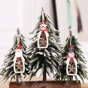 Christmas Pendants Hollow Wooden Craft Santa Claus Snowman Elk Tree Drop Ornament New Year Home Festival Party Decoration