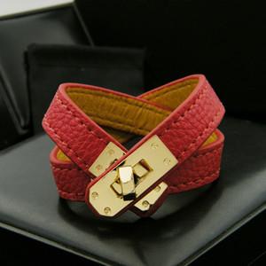 Classic Leather Vintage Multilayer Pu H bracciali per le donne braccialetti del polsino Uomini oro fibbia Wristband Pulseras Hombre Maschio Gioielleria