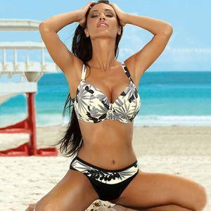 atractivo de la impresión de la vendimia Bikinis 2020 empuje hacia arriba bikini conjunto Hembra más tamaño baño mujeres del juego del traje de baño de cintura baja swinsuit XXL biquini