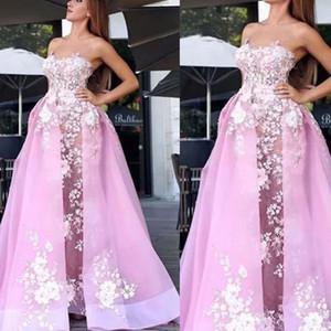 핑크 댄스 파티 드레스 2020 년에 스트라이 레이스 아플리케 분리가능한 스커트 튤 핑크 이브닝 드레스에 공식적인 드레스 드 로브