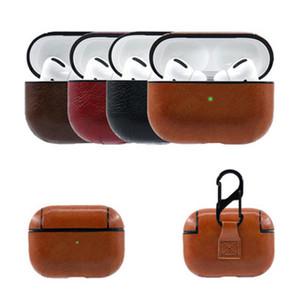 Cuoio per Apple Airpods Pro modo di caso della copertura di Air Pod 3 cuffie auricolari Earpods Anti-perso Hook protezione antiurto Pouch
