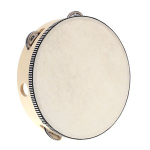 6 inches Tambourine Hand Held Tambourine Drum Bell Birch Metal Jingles Kids School Musical Toy KTV Party Percussion Toy LA367 DHL Free