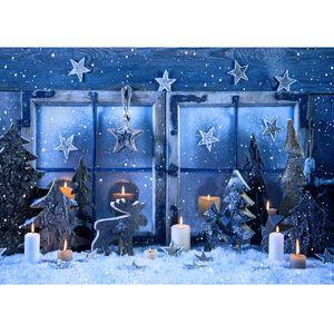 Fotografia Backdrop Stelle di Natale Finestra Candele Decori vinile Photoshoot per Bambini Photocall Photo Studio