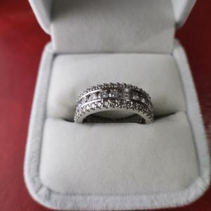 2021 Ultimi anelli di diamanti da donna anello pieno di cristallo 925 anelli in argento sterling donna sposati con gioielli di designer di lusso contiene scatola regalo di fascia alta