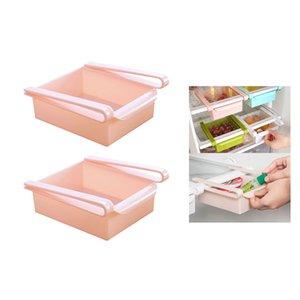 2 Pcs Frigorífico Gaveta Freezer Slide Pink prateleira da cozinha vegetal Armazenamento