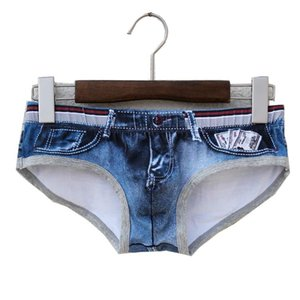 Coton MENS Slip Gay Man Sexy Low Rise Sous-vêtements Tight court Trunks Hot Vendre Jeans Caleçons Imprimé mode boxer Taille asiatique