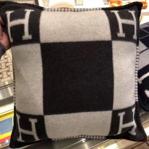 Lettre H Taie d'oreiller en laine mélangée Coussin décoratif Throw Taie Accueil Canapé décoration Couverture 7COULEURS