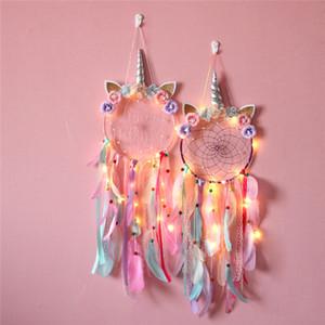 Dreamcatcher pared de la decoración del hogar del unicornio del colector del sueño de la muchacha la pared del dormitorio LED de accesorios hechos a mano de la pluma del colector del sueño trenzado Wind Chimes