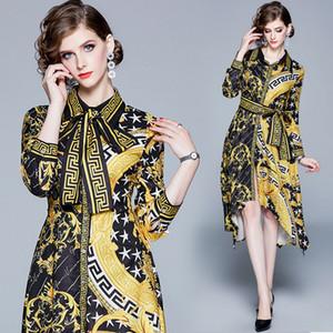 Nueva manera de lujo barroco imprimió el vestido de primavera Caída de pista de las mujeres vestidos de baile Oficina vestido asimétrico de la vendimia Señora del asunto partido delgado