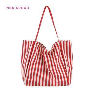 Rosa bolsa Sugao luxo BRW mulheres sacolas de lona do desenhista bolsa de ombro grande capacidade claramente sacos de lona listrado selvagem
