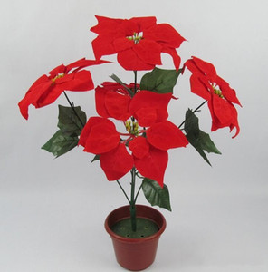 christmas flower poinsettia artificial flowers poinsettia christmas home festival decoratiion flower 45cm 5 Head Poinsettia Flower
