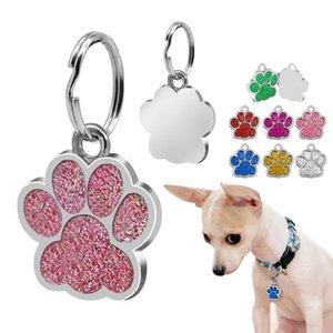 Dog Fashion Id Tag personalizado para cães pequenos strass Acessórios Pet Paw cópia do pé Tag Decoração placa Collar Nome