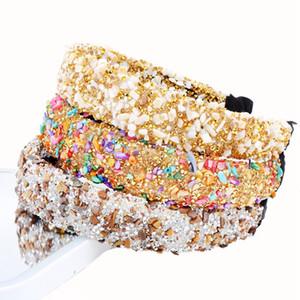 Acessórios de cabelo colorido barroco completa Cristal Headband Para Mulheres Headband luxo brilhante acolchoado diamante Hairband
