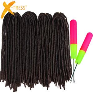 Sintetici Treccia estensioni dei capelli 22inch morbida Dreadlocks Faux Locs Crochet trecce di capelli X-TRESS