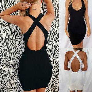 Robe sexy moulante Femmes 2020 Summer Sling manches Low Cut Cross Backless Noir Mini Robe de soirée Femme Robes Club Robes