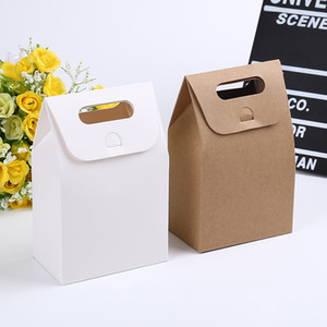 500 X 10*6*16cm Gift Kraft Box Craft Bag with Handle Soap Candy Bakery Cookie Biscuits Packaging Paper Boxes