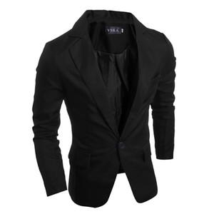 Mens neue Herbst-Art und Weise beiläufige Slim Fit Blazer Single Button Pure Color formale Klage Jacke Männlich Blazer Plus Size