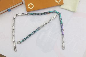Europe America Men Lady Women Metal Quenched Silver- and rainbow-color Engraved V Initials Rainbow Thick Chain Necklace Bracelet Jewelry Set